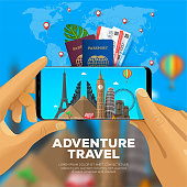 Adventure travel banner. first-person view. taking photos of landmarks with smartphone. Passport with tickets. Business and excursion trip. Vector eps10