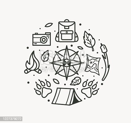 Adventure travel. Compass, paws, backpack, tent, bonfire, camera, map for tourist symbol, travel badge, expedition label. Camping logo.
