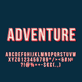 Adventure vintage 3d vector lettering. Retro bold font. Pop art stylized text. Old school style letters, numbers, symbols pack. 90s, 80s poster, banner typography design. Dark blue color background