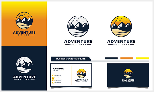 adventure with mountain and sun  design concept and business card template
