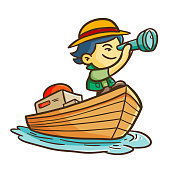 Cool and funny adventurer boy on a boat - vector.