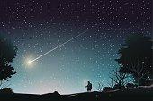 adventurer journey to watch shooting star in forest
