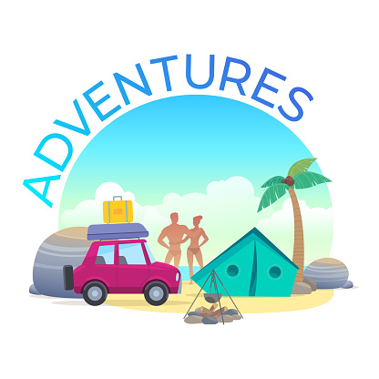 Adventures. A couple resting on the beach in a tent by car. Palm tree, stones, bonfire and surfing.