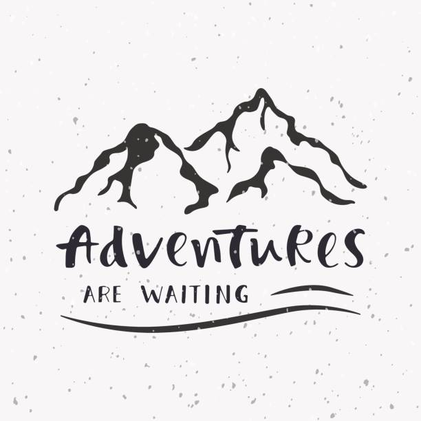 Adventures are waiting. Handwritten lettering for cards, posters, overlays and t-shirts. vector art illustration