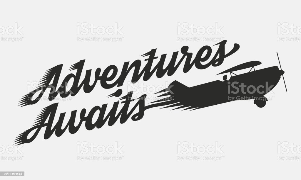 Adventures Awaits Flying Retro Airplane With Text Vintage Poster ...