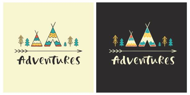 Adventures - hand drawn lettering with ethnic elements: wigwams, trees and arrow. Set of outdoor vector illustration for cards, posters, prints or t-shirts. teepee stock illustrations