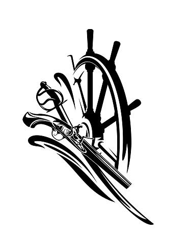 adventurous pirate times sea travel emblem black vector design