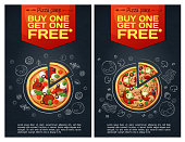 Advert fastfood flyer with pizza icon on chalkboard background vertical format. Cartoon vector illustration