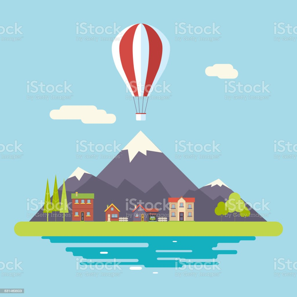 Advertisement Commercial Promotion House Village Mountains Sky Icons Modern Flat vector art illustration