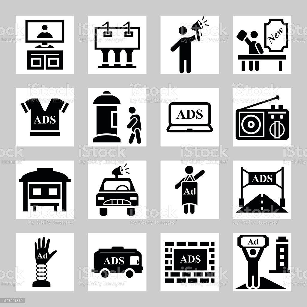 Advertisement Marketing Icons Set Vector Symbols Business Icon Stock