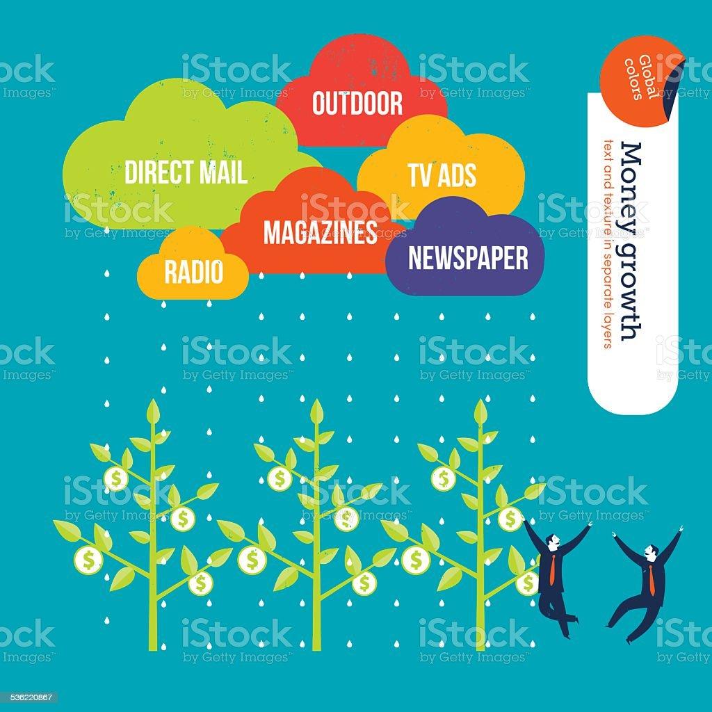 Advertisement media clouds raining over money plants businessmen happy vector art illustration