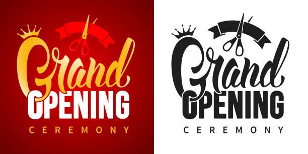 ilustrações, clipart, desenhos animados e ícones de anúncio da abertura grande - inauguração