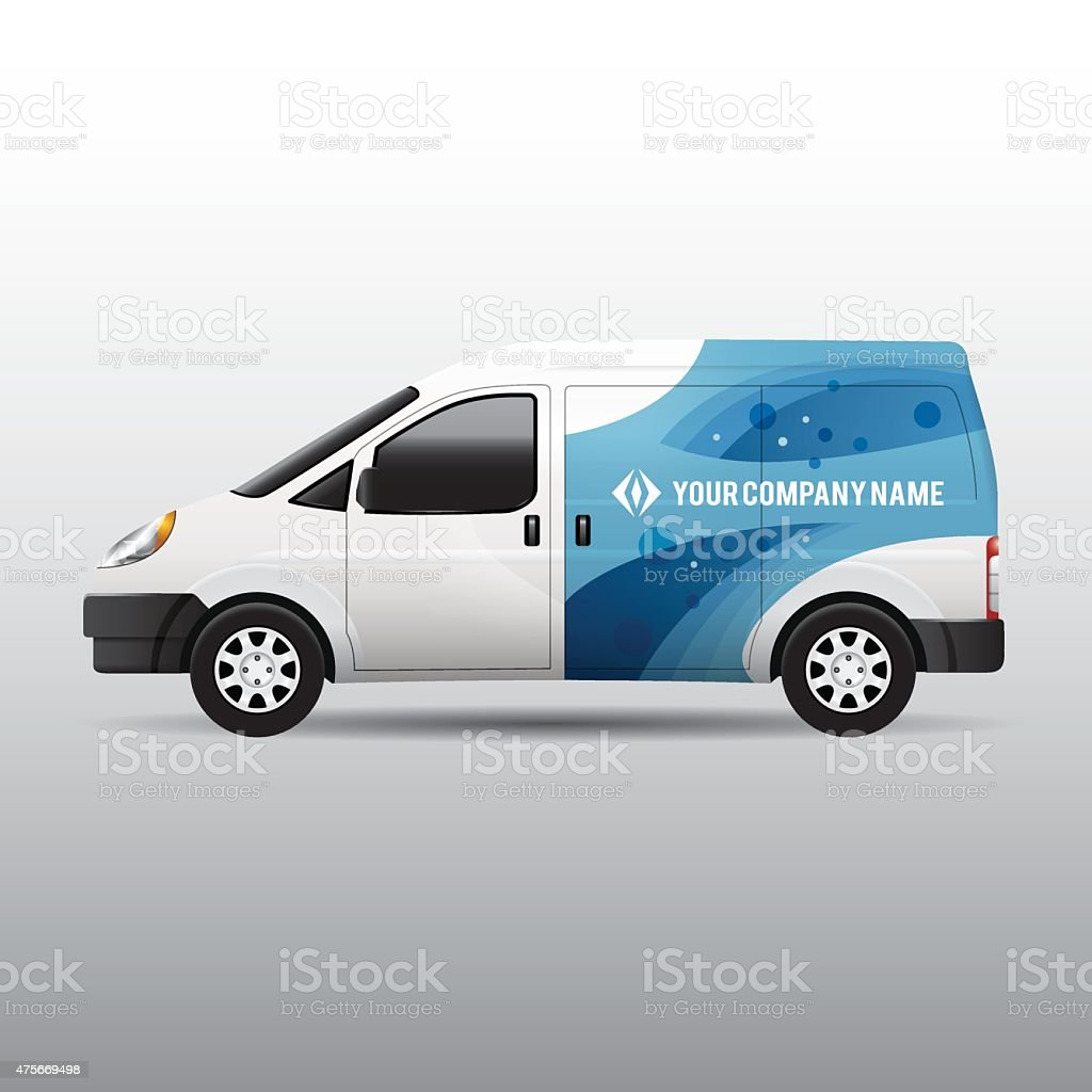 Advertisement or corporate identity design template on white van vector art illustration