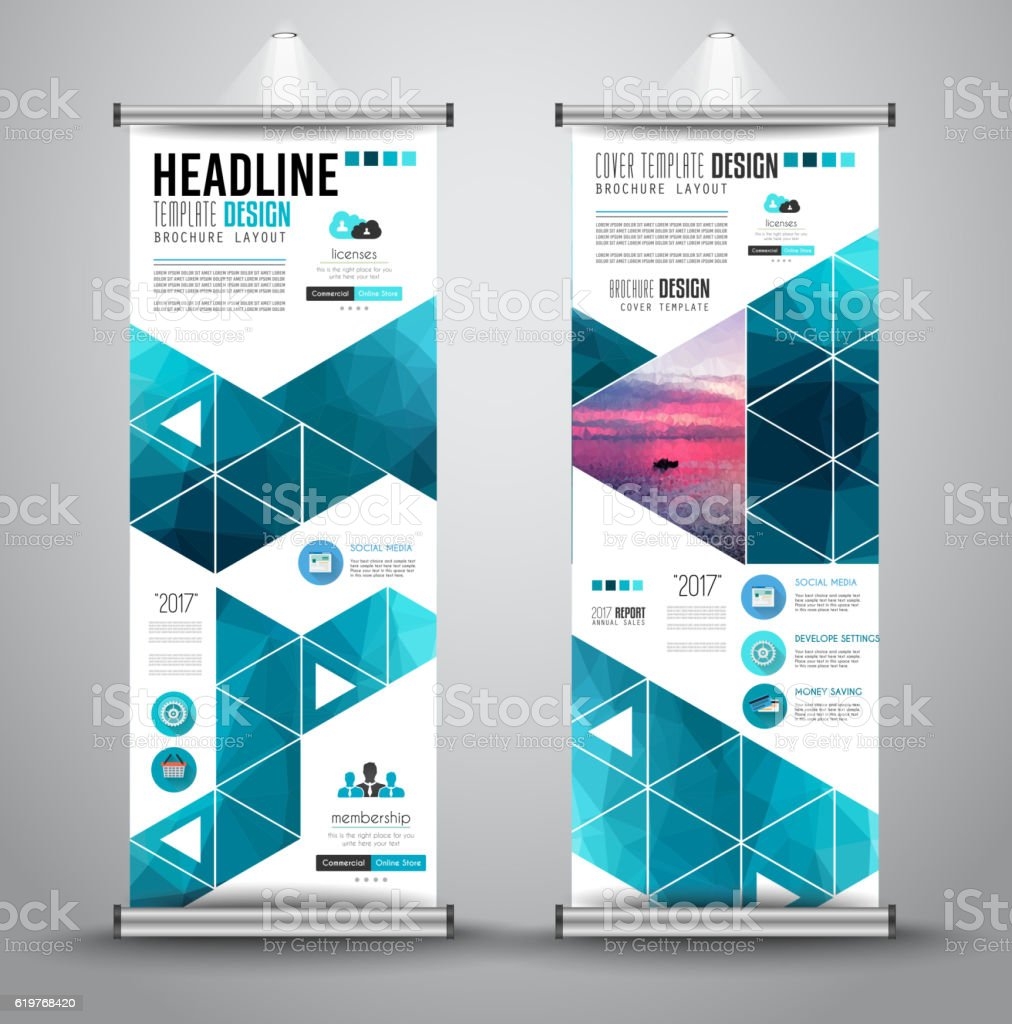Advertisement roll up business flyer or brochure banner,vertical design. vector art illustration