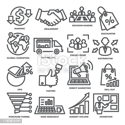 Advertising and marketing line icons