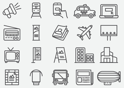 Advertising and Media Line Icons