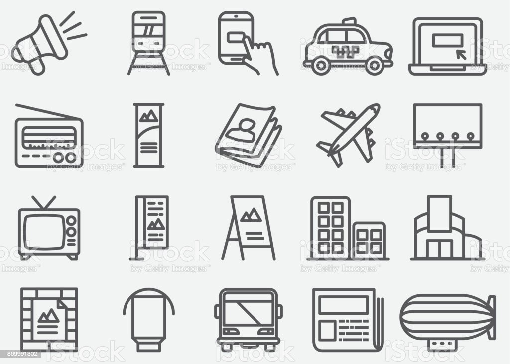 Advertising and Media Line Icons vector art illustration