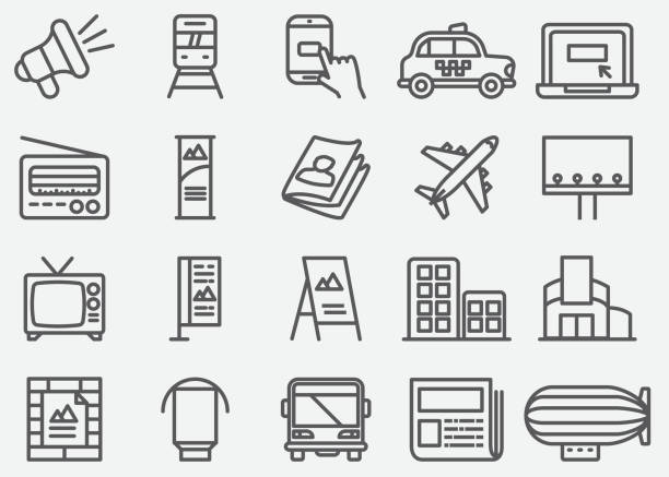 advertising and media line icons - tablica reklamowa stock illustrations