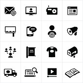 Advertising and promotion for business icons. Advertising, promotion, marketing, communications, media, business.