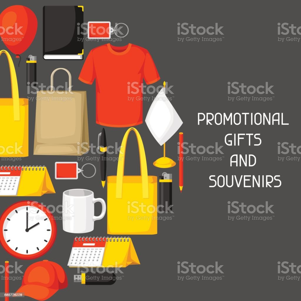 Advertising background with promotional gifts and souvenirs vector art illustration