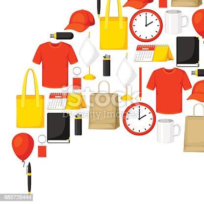 Advertising Background With Promotional Gifts And Souvenirs - Arte vetorial de stock e mais imagens de Acessório 685726444