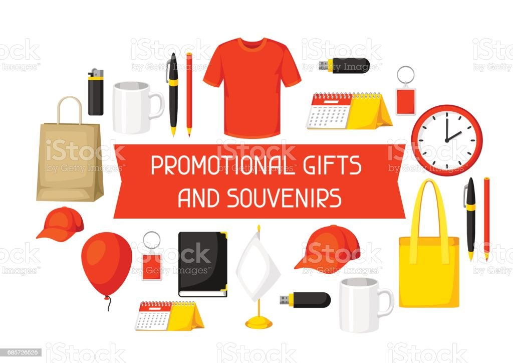 Advertising background with promotional gifts and souvenirs advertising background with promotional gifts and souvenirs - arte vetorial de stock e mais imagens de acessório royalty-free