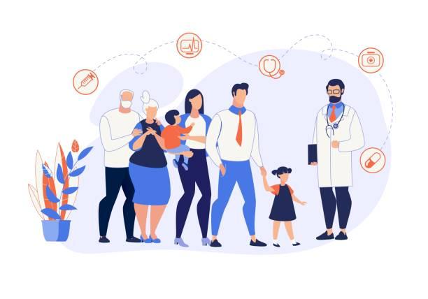 bildbanksillustrationer, clip art samt tecknat material och ikoner med reklam banner familj medicin tecknad platta. - allmänläkare