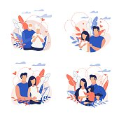 Advertising Banner Family Planning Cartoon Flat. Flyer Elderly Family Couple among Flowers. Husband Embraces Pregnant Wife. Poster Husband and Wife Walk with Children in Park. Vector Illustration.