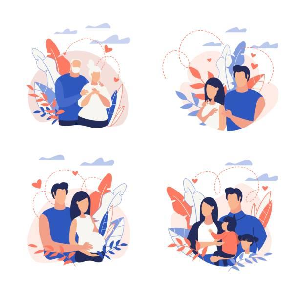ilustrações de stock, clip art, desenhos animados e ícones de advertising banner family planning cartoon flat. - future hug