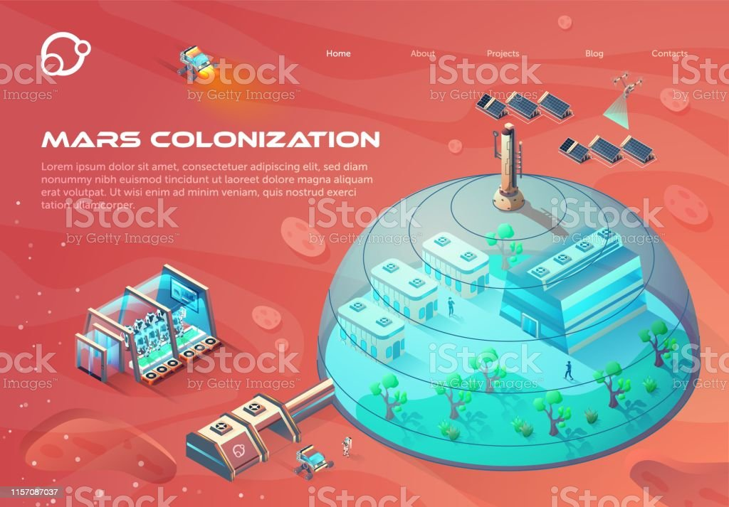 Advertising Banner Inscription Mars Colonization. Advertising Banner Inscription Mars Colonization. City Under Dome Using Solar Energy. Growing Green Plants on Colonized Planet. Oxygen Production Materials and Necessities. Vector Illustration. Ancient Civilization stock vector