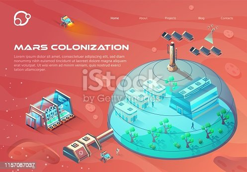 Advertising Banner Inscription Mars Colonization. City Under Dome Using Solar Energy. Growing Green Plants on Colonized Planet. Oxygen Production Materials and Necessities. Vector Illustration.