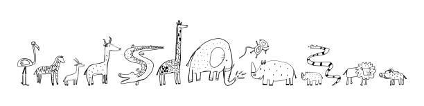 Werbebanner, Satz Skizze afrikanische Tiere. – Vektorgrafik