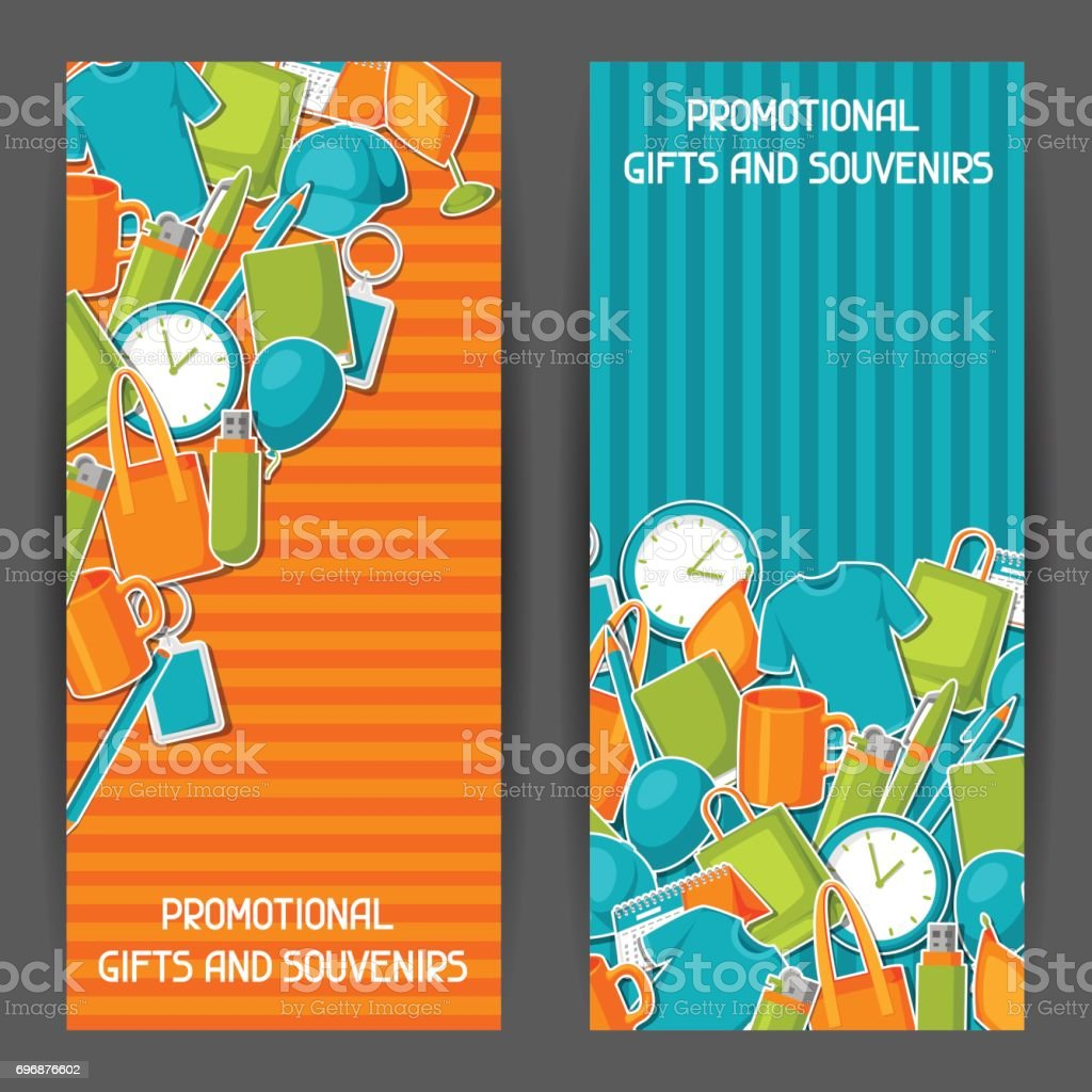 Advertising banners with promotional gifts and souvenirs vector art illustration