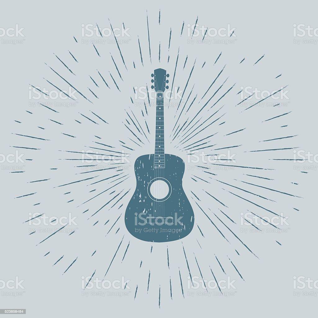 Advertising card with guitar silhouette vektör sanat illüstrasyonu