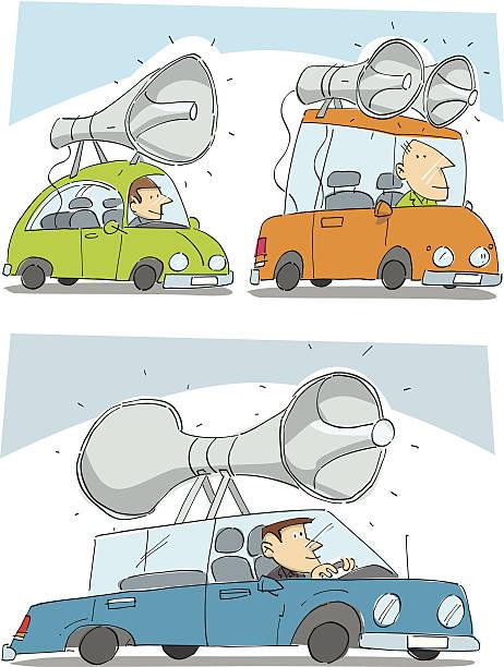 Advertising cars vector art illustration