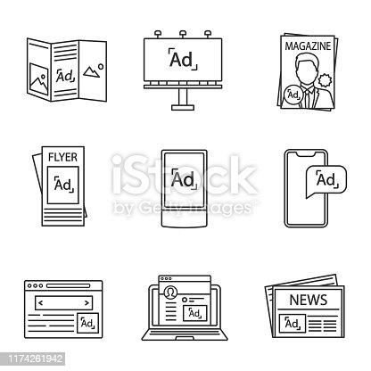 Advertising channels linear icons set. Brochure, billboard, magazine, brochure, street lightbox, mobile, internet marketing, blogging, newspaper. Isolated vector outline illustrations. Editable stroke