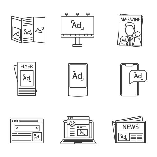 advertising channels linear icons set - tablica reklamowa stock illustrations