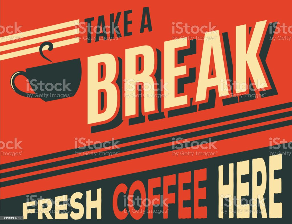 advertising coffee retro poster vector art illustration