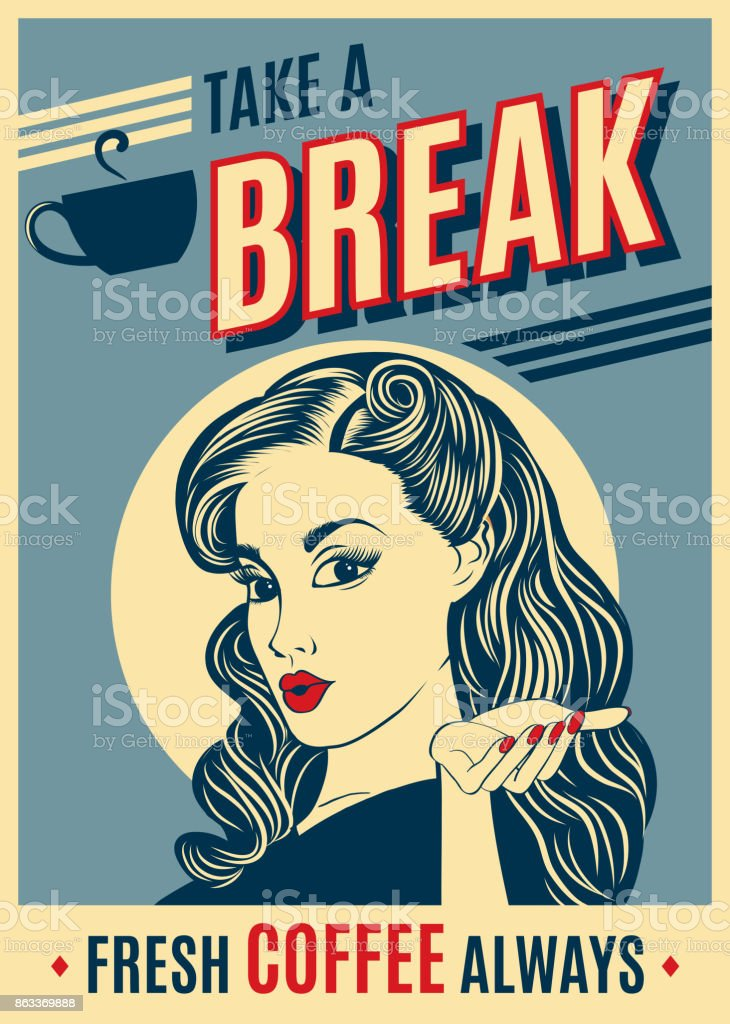 advertising coffee retro poster with pop art woman vector art illustration