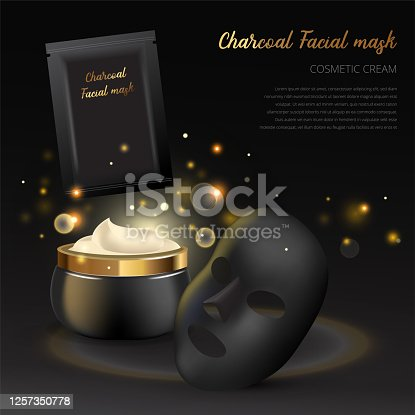 Vector advertising design template of Cosmetic package of facial charcoal anti blackhead mask. Premium skincare product of luxury black jar on black background with golden sparkling lights