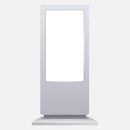 Advertising digital signage mockup isolated on white background.