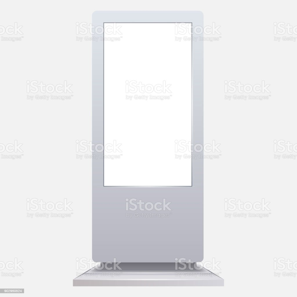 Advertising digital signage mockup isolated on white background. vector art illustration