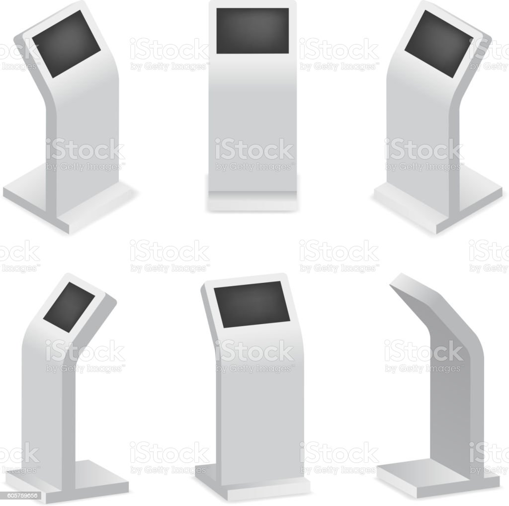 Advertising display terminal for payment or interactive kiosk vector art illustration