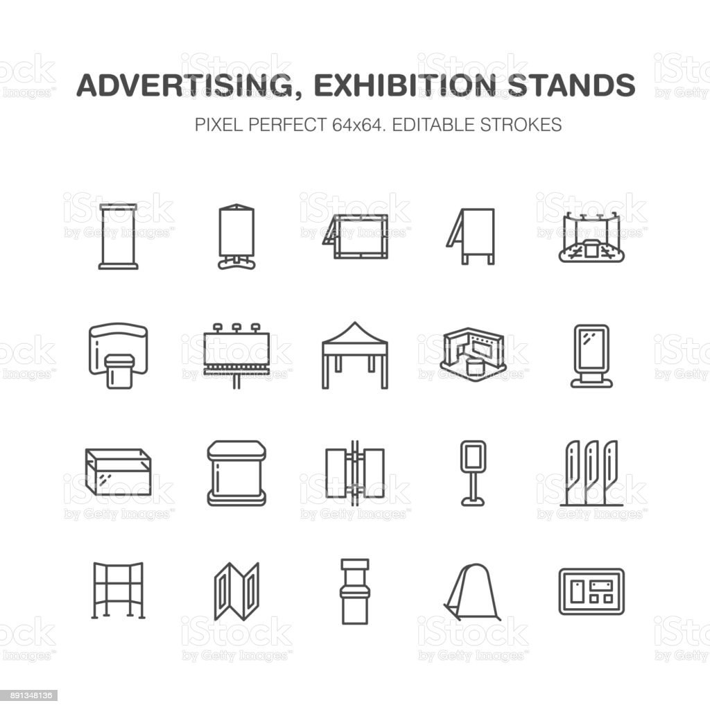 Advertising exhibition banner stands, display line icons. Brochure holders, pop up boards, bow flag, billboard folding marquees promotion design elements. Trade objects signs. Pixel perfect 64x64 vector art illustration