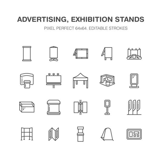 advertising exhibition banner stands, display line icons. brochure holders, pop up boards, bow flag, billboard folding marquees promotion design elements. trade objects signs. pixel perfect 64x64 - wystawa sklepowa stock illustrations