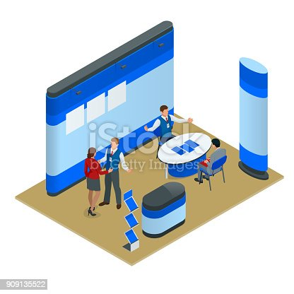 Advertising exhibition stands mockup composition for a recruitment agency or tour agencies. Vector isometric illustration.
