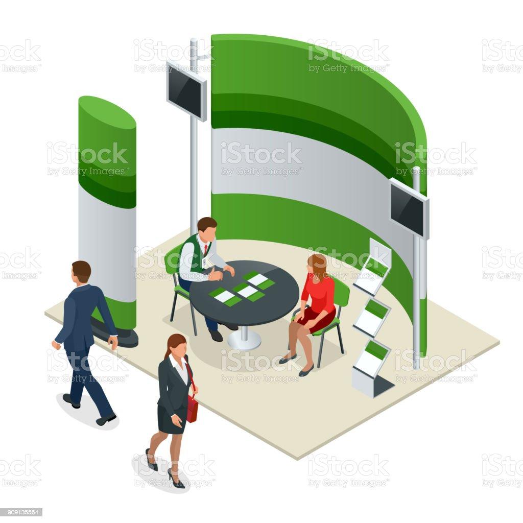 Exposición de publicidad significa composición de maqueta para un reclutamiento agencias agencia o tour. Isométrico ilustración de vectores - ilustración de arte vectorial
