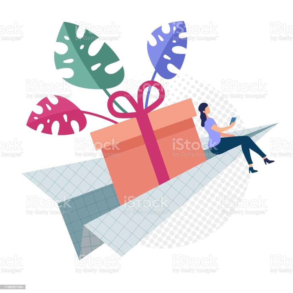 Advertising Flyer Easy Gift Delivery Cartoon. Banner Conceptual Idea...