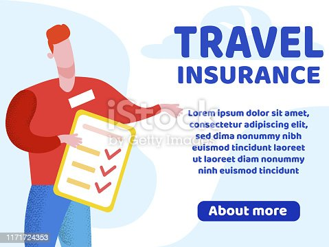 Advertising Flyer Lettering Travel Insurance. Insurance Policy Covers all Costs Associated with Payment Medical Services. Man Holding an Insurance Policy Cartoon. Vector Illustration.