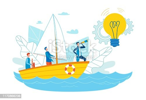 Advertising Flyer Search Ideas for Smm Cartoon. Social Networks have Many Target Audiences. Men Float in Boat Orienting Themselves to Glowing Light Bulb. Guy is Looking Through Telescope.